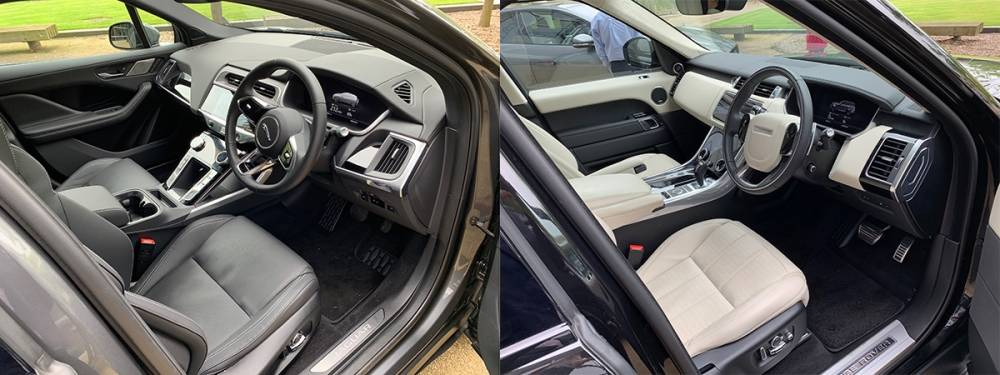 interiors of Jaguar I-pace and Range Rover