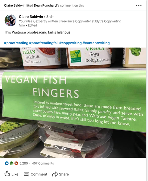 Vegan Fish fingers copywriting